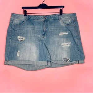 LANE BRYANT • Distressed Stretch Jean Shorts